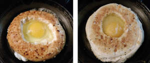 fried eggs in bagel